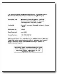 Mandatory Custody Mediation : Empirical ... by Saccuzzo, Dennis P.