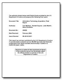 Information Technology Acquisition, Fina... by Mcewen, Tom