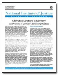 Alternative Sanctions in Germany : An Ov... by Travis, Jeremy
