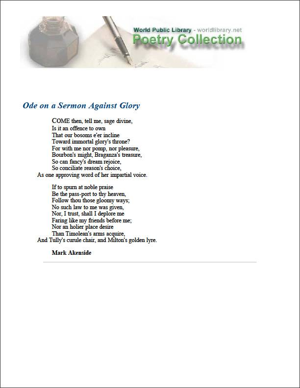 Ode on a Sermon against Glory by Akenside, Mark