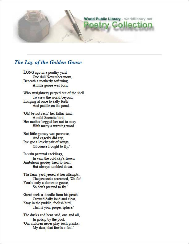 The Lay of the Golden Goose by Alcott, Louisa May
