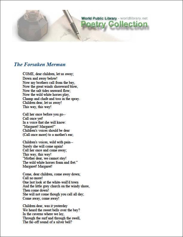 The Forsaken Merman by Arnold, Matthew