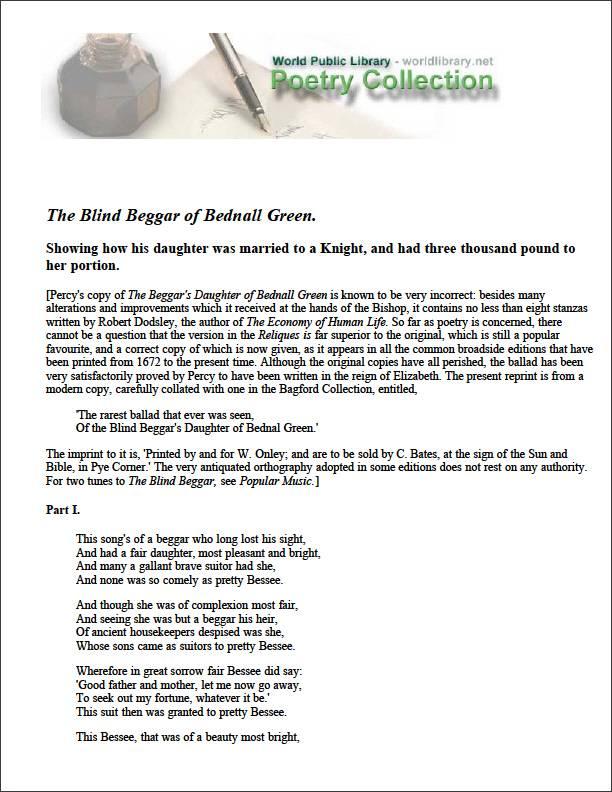 The Blind Beggar of Bednall Green by Various