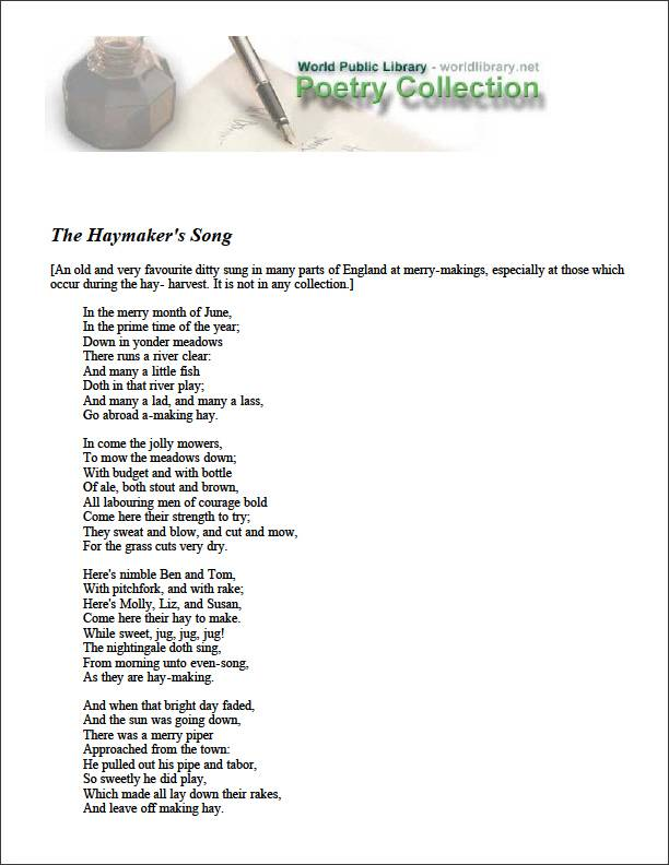 The Haymaker's Song by Various