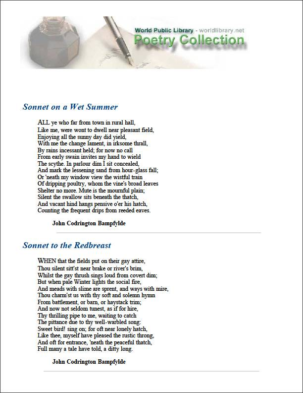 Sonnet on a Wet Summer by Bampfylde, John Codrington
