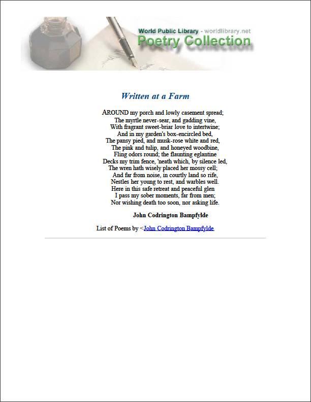 Written at a Farm by Bampfylde, John Codrington