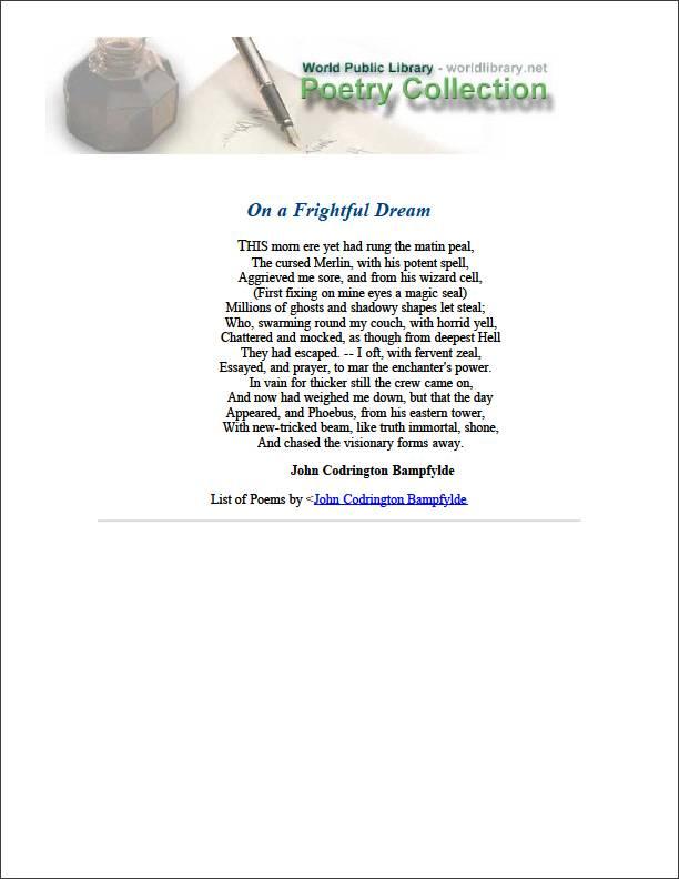 On a Frightful Dream by Bampfylde, John Codrington