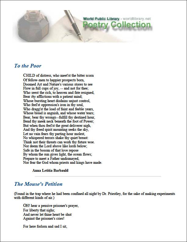 To the Poor by Barbauld, Anna Letitia