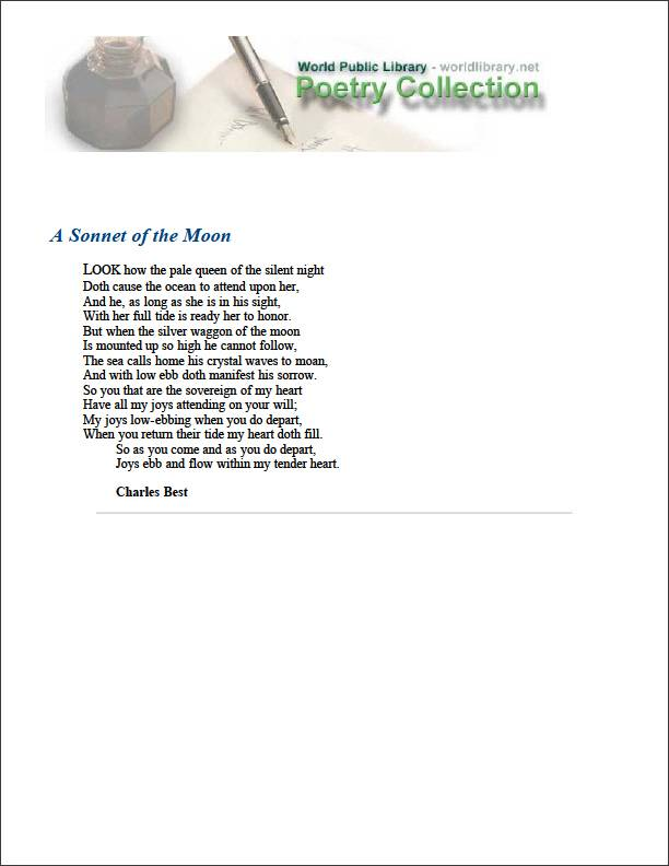 A Sonnet of the Moon by Best, Charles