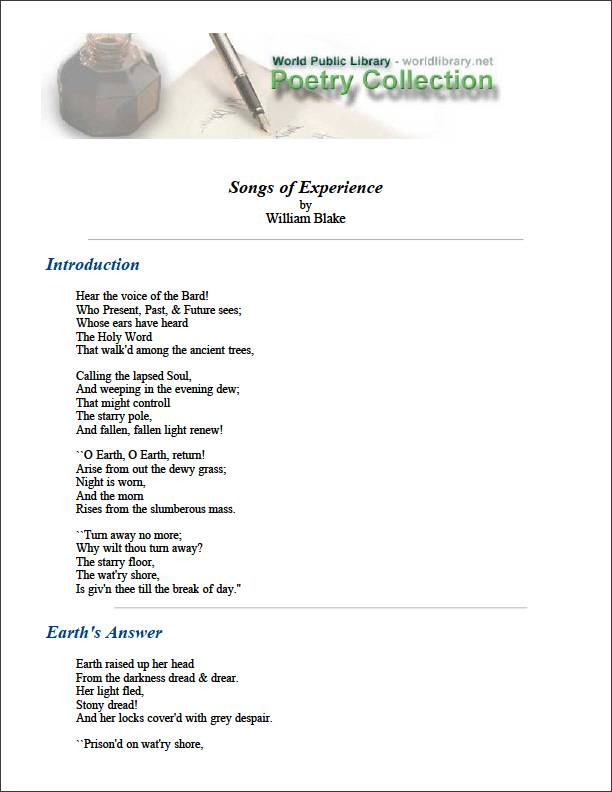 Songs of Experience by Blake, William