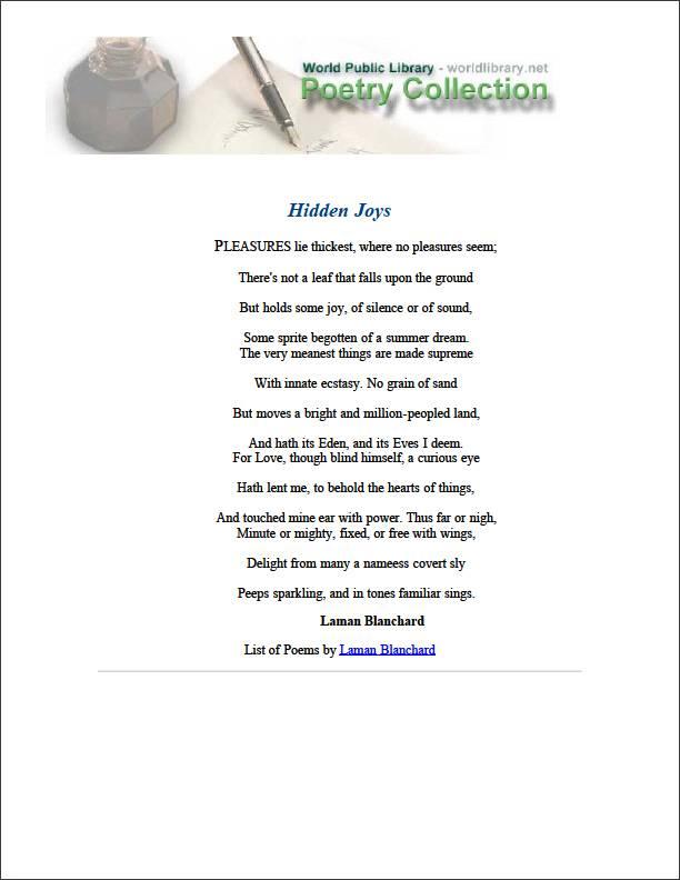 Hidden Joys by Blanchard, Laman