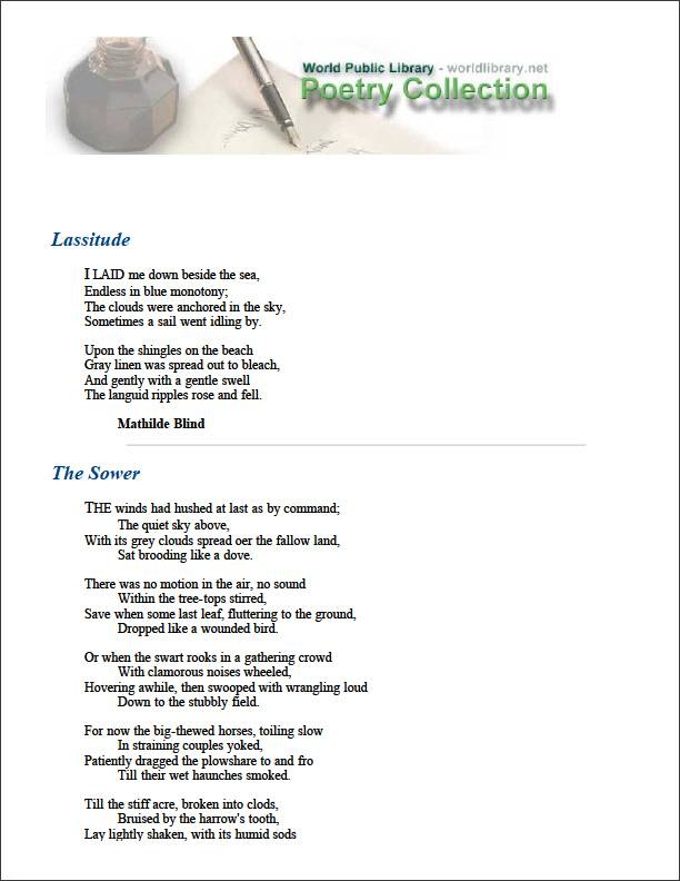 Lassitude and Other Poems by Blind, Mathilde