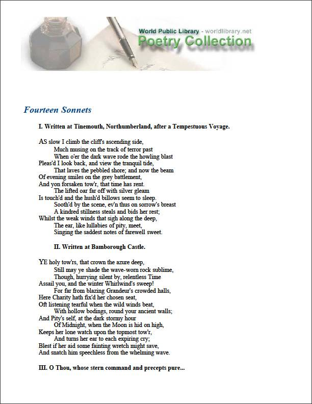 Fourteen Sonnets by Bowles, William Lisle