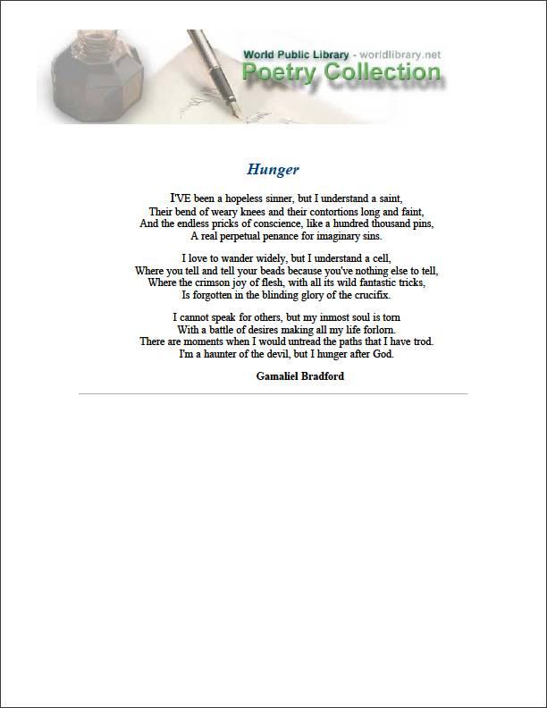 Hunger by Bradford, Gamaliel