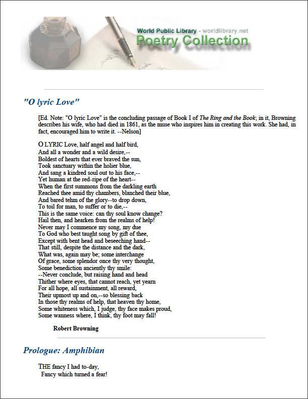 O Lyric Love by Browning, Robert
