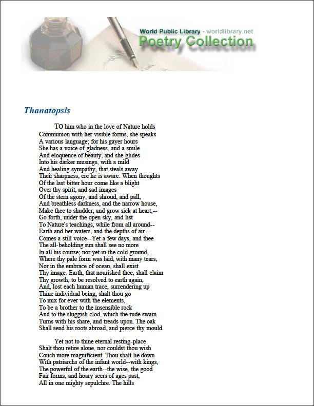 Thanatopsis by Bryant, William Cullen