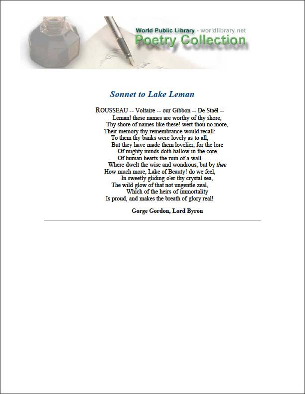Sonnet to Lake Leman by Byron, George Gordon Byron, Baron