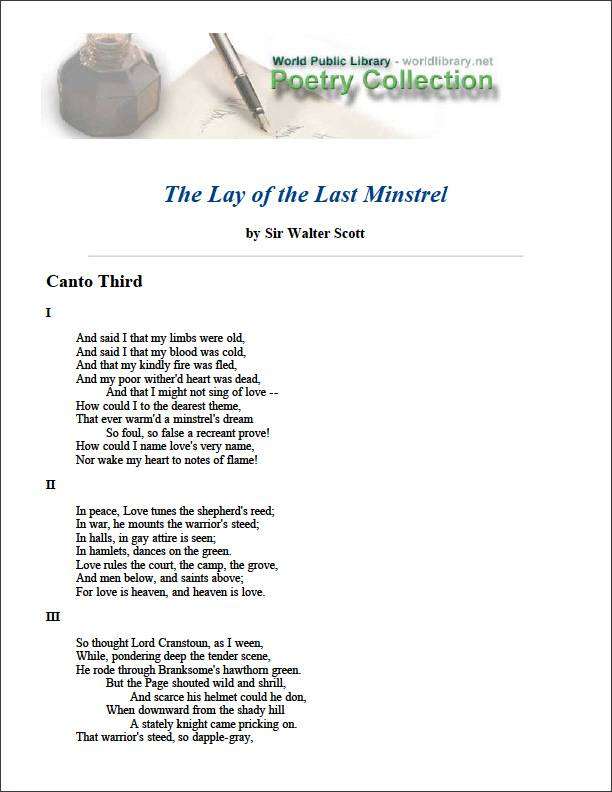 The Lay of the Last Minstrel by Scott, Walter, Sir