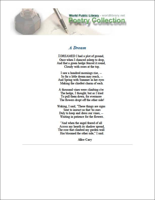 A Dream by Cary, Alice