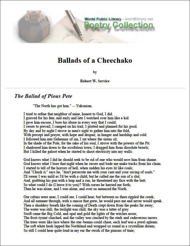 Ballads of a Cheechako by Service, Robert W. (Robert William)