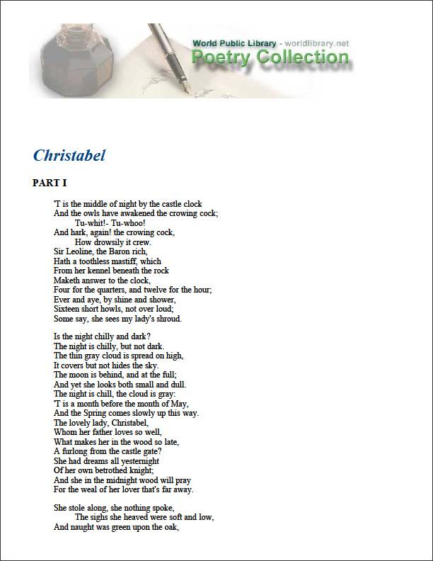 Christabel by Coleridge, Samuel Taylor