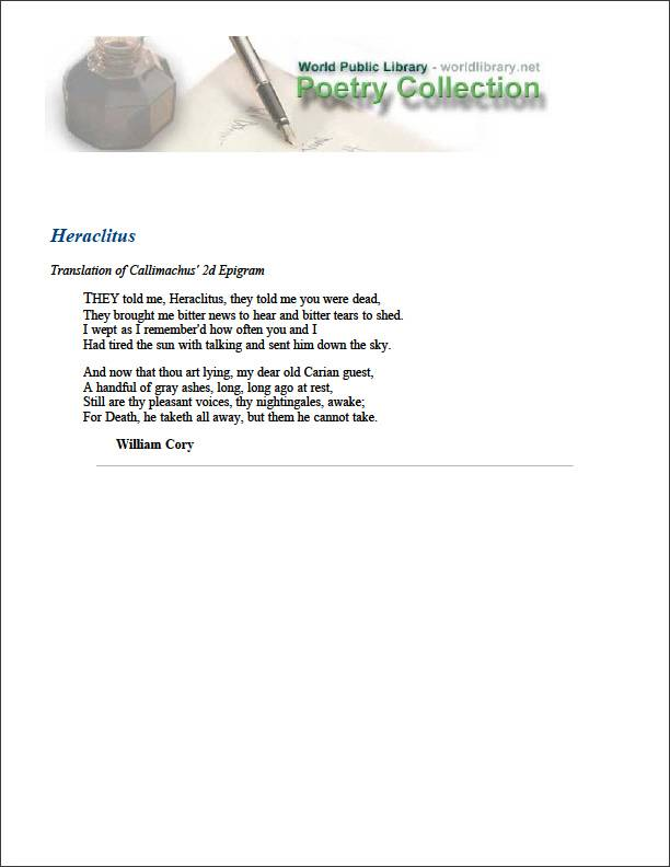 Heraclitus by Cory, William