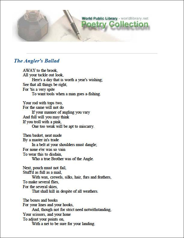 The Angler's Ballad by Cotton, Charles