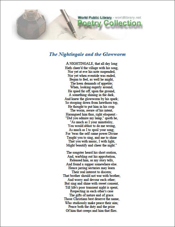 The Nightingale and the Glowworm by Cowper, William