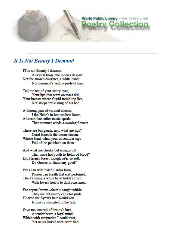 It Is Not Beauty I Demand by Darley, George
