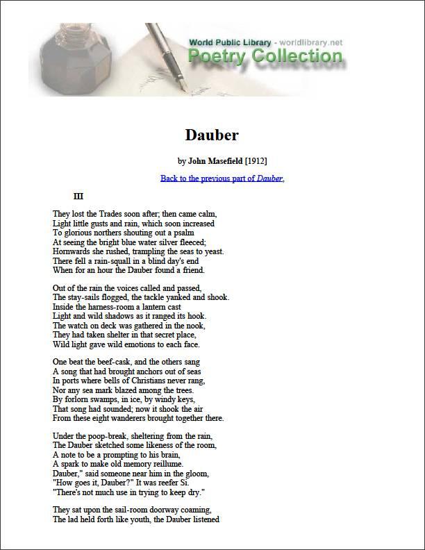 Dauber by Masefield, John