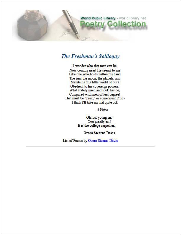The Freshman's Soliloquy by Davis, Ozora Stearns