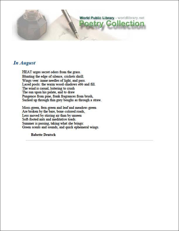 In August by Deutsch, Babette