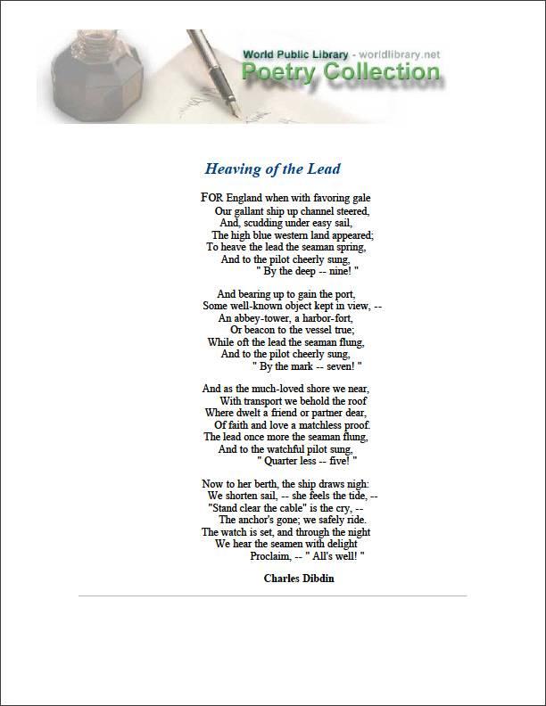 Heaving of the Lead by Dibdin, Charles