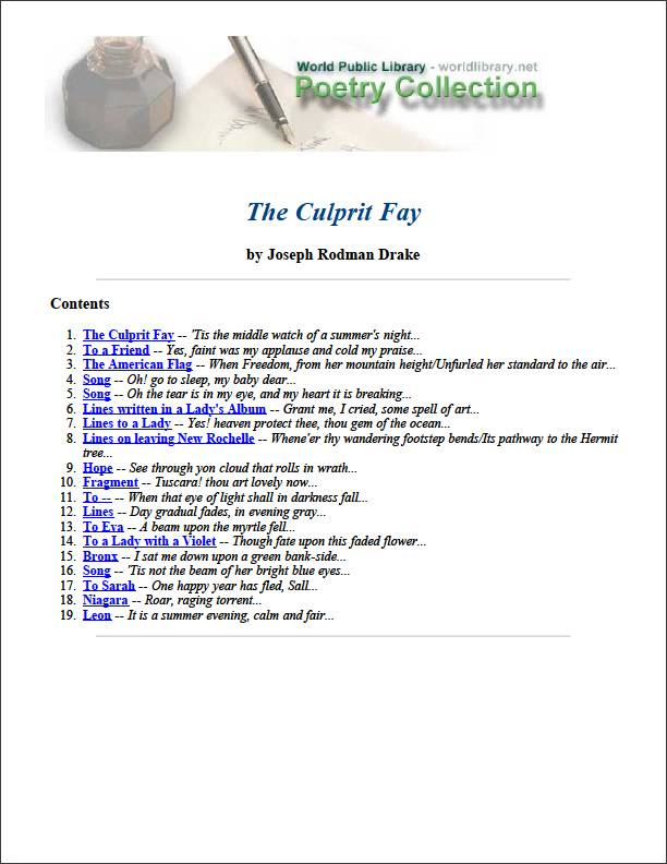 The Culprit Fay and Other Poems by Drake, Joseph Rodman