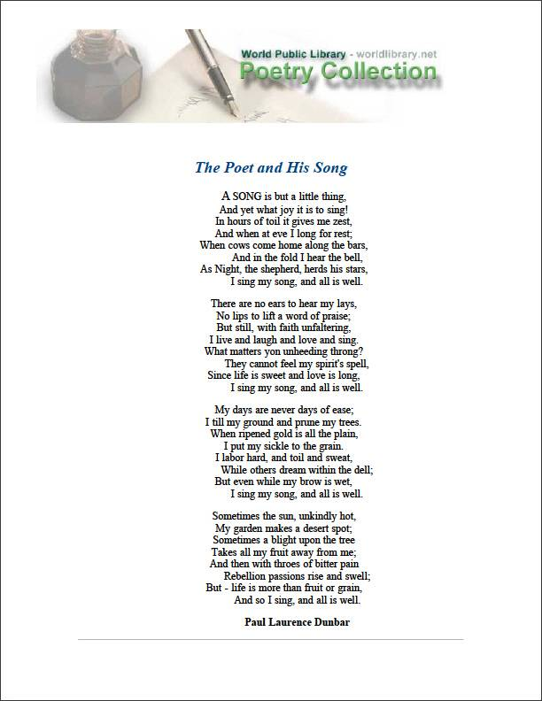 The Poet and His Song by Dunbar, Paul Laurence