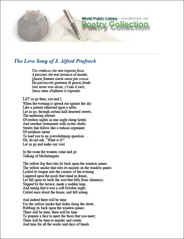 The Love Song of J Alfred Prufrock by Eliot, T. S.