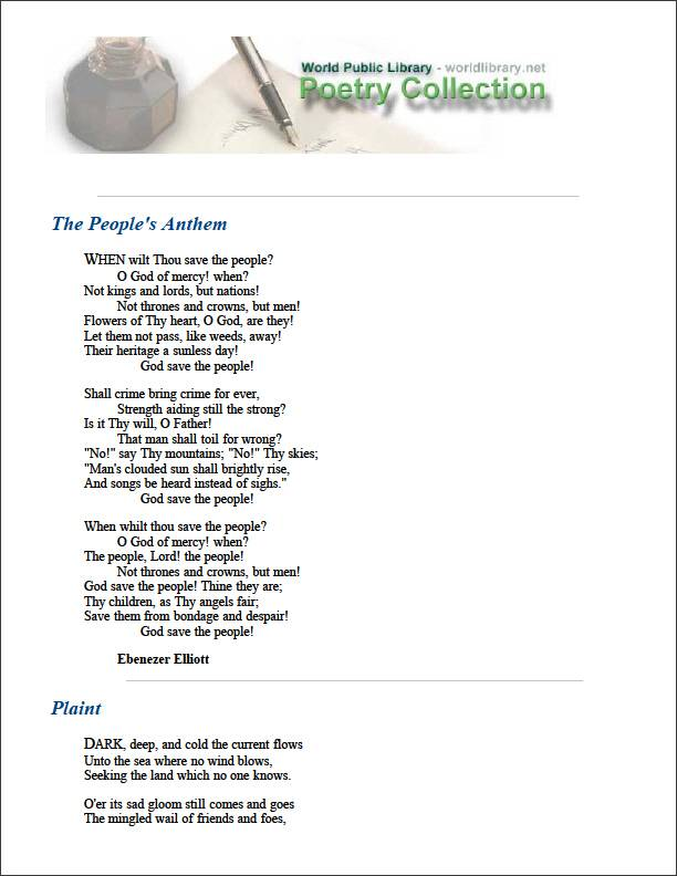 The People's Anthem by Elliott, Ebenezer