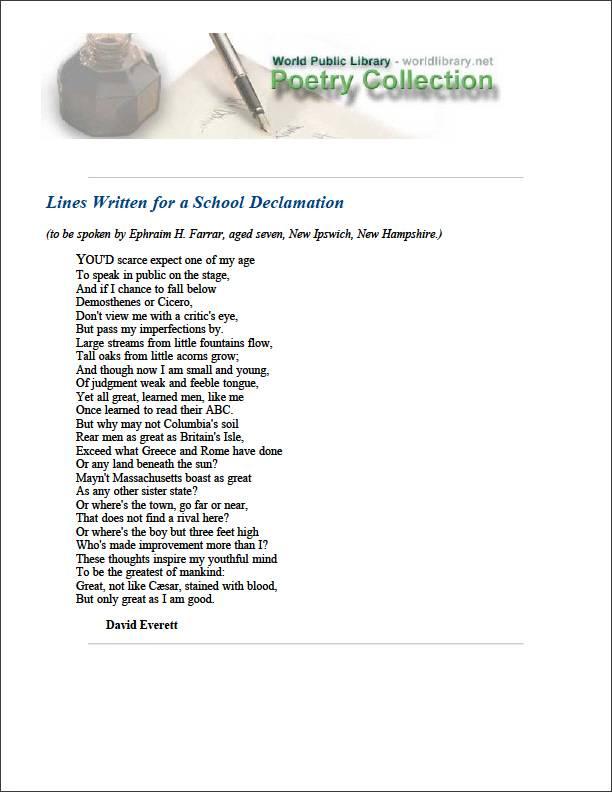 Lines Written for a School Declamation by Everett, David