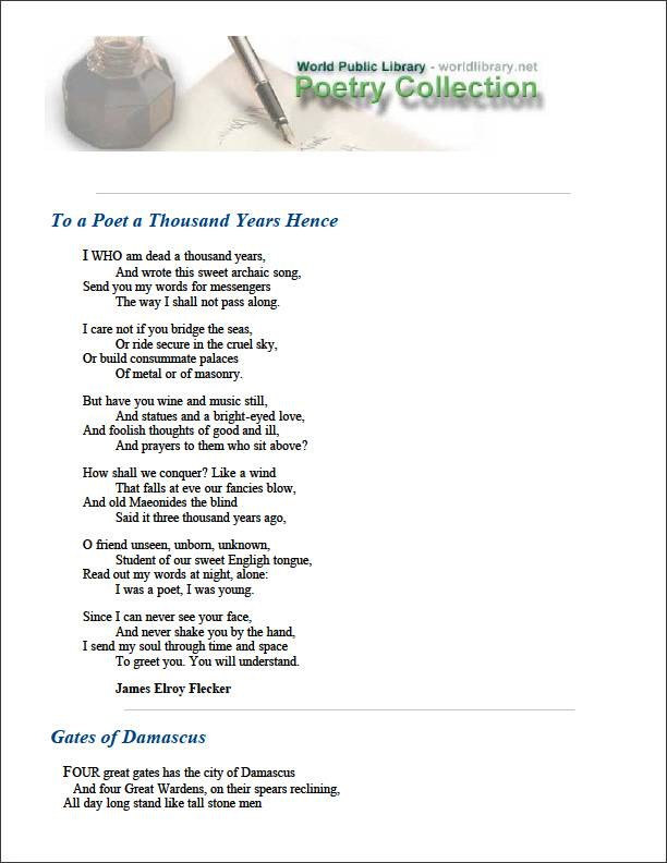 To a Poet a Thousand Years Hence by Flecker, James Elroy