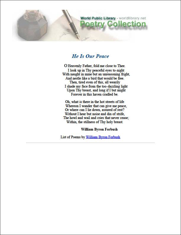 He Is Our Peace by Forbush, William Byron