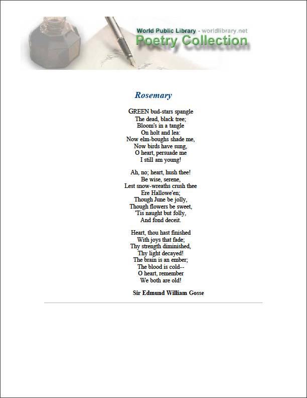 Rosemary by Gosse, Edmund William, Sir