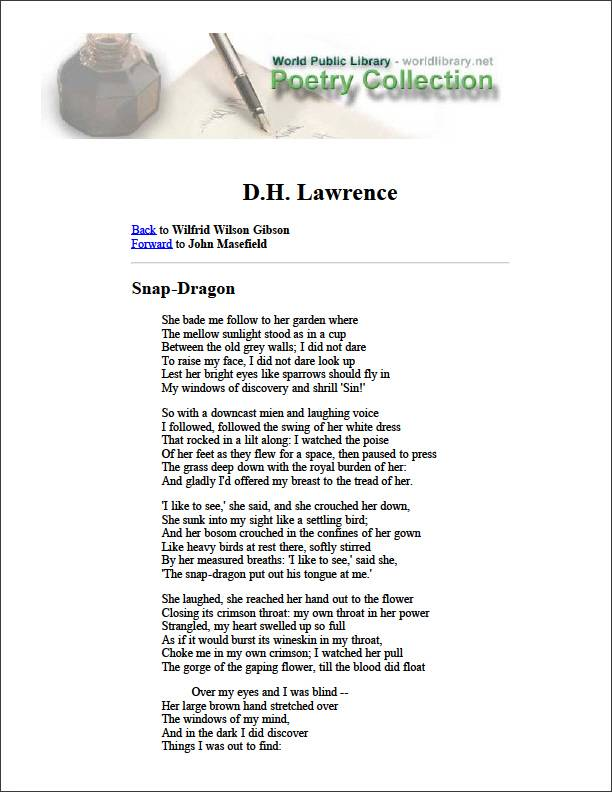 Snap-Dragon by Lawrence, D. H.