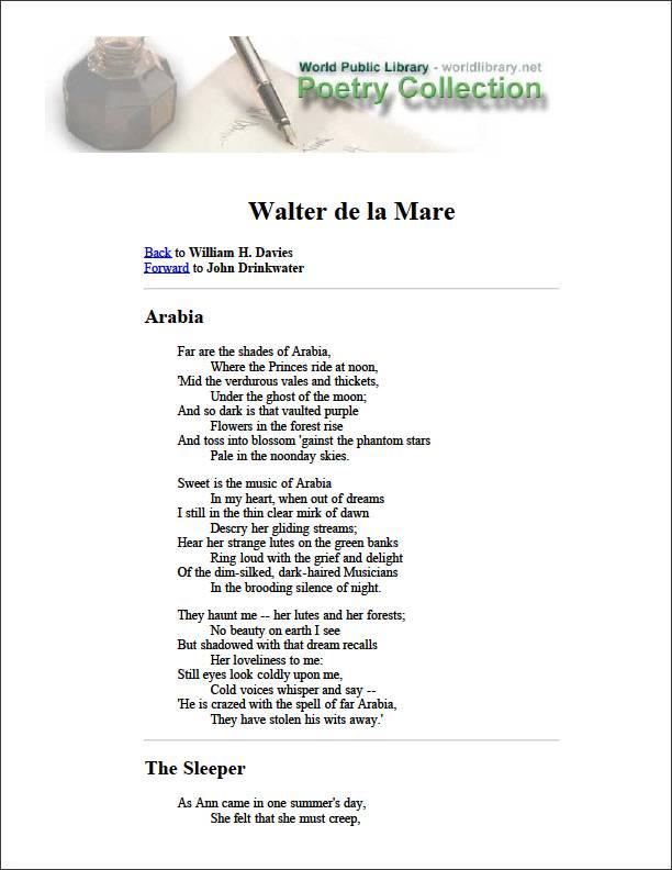 Walter de la Mare by Davies, William H.
