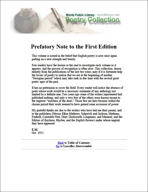 Prefatory Note to the First Edition by Abercrombie, Lascelles