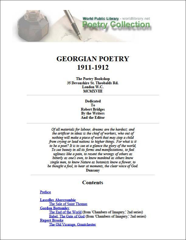 Georgian Poetry 1911-1912 by Bridges, Robert