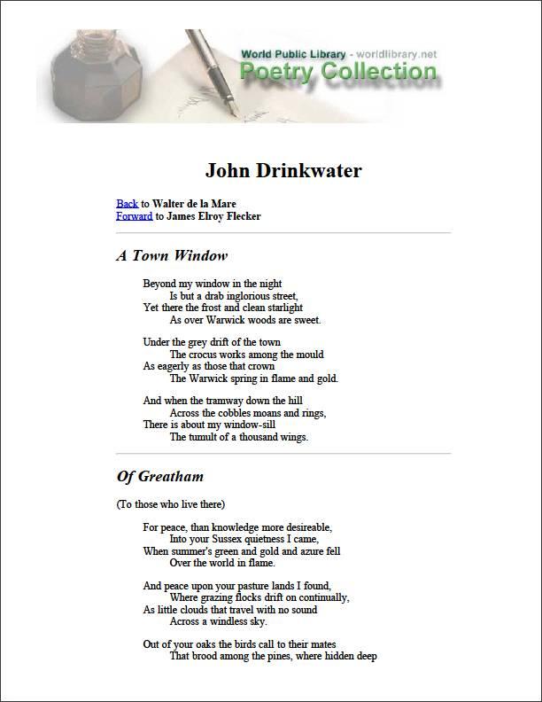 John Drinkwater by De La Mare, Walter