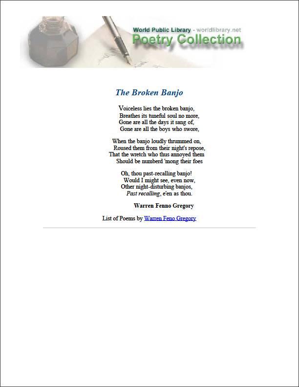 The Broken Banjo by Gregory, Warren Fenno