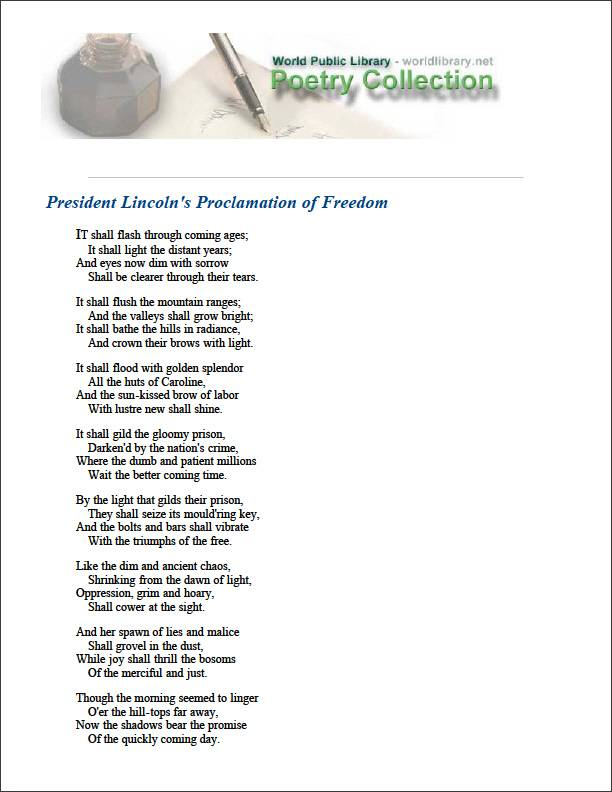 President Lincoln's Proclamation of Free... by Harper, Frances E. W.