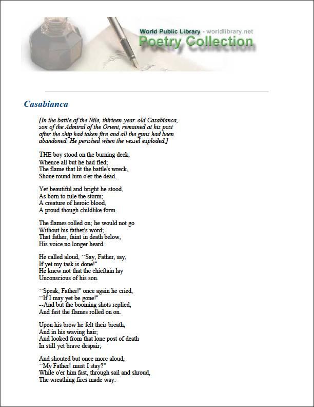 Casabianca by Hemans, Felicia Dorothea Browne, Mrs.