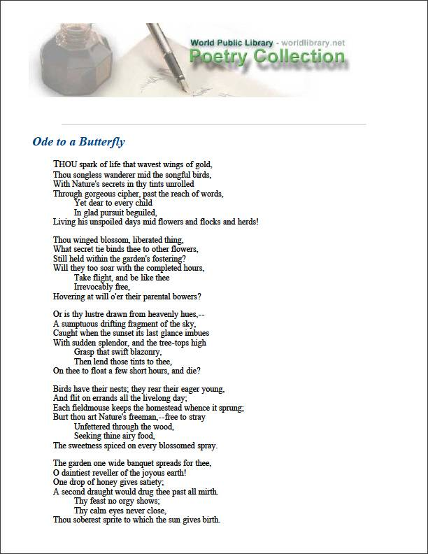 Ode to a Butterfly by Higginson, Thomas Wentworth